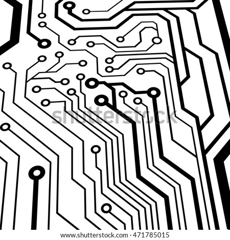 Abstract Simple Circuit Board Perspective View Stock Vector Royalty