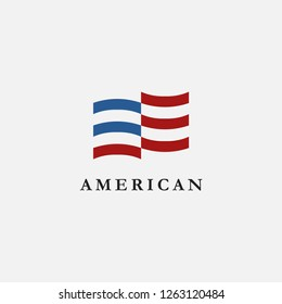 Abstract Simple Flag Logo icon of United States of America, USA, American