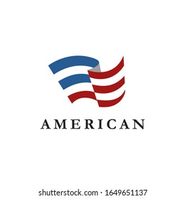 Abstract Simple Flag Logo icon of United States of America, USA, American icon on white background