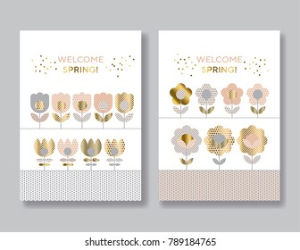 Abstract simple folk style elegant floral surface design for card or poster. Concept geometric tulip flowers in gold and beige color. Spring blossom vector illustration.