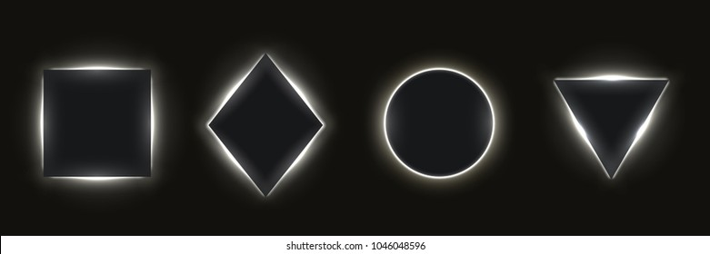 Abstract simple geometric shapes with realistic neon led backlighting behind isolated on black background. Template for banner, cover, poster. Vector illustration.