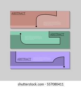 Abstract simple line background banners design template. Can be used as Infographics, numbered banners, timeline, steps, tutorial, workflow diagrams. Illustration, Vector eps10.