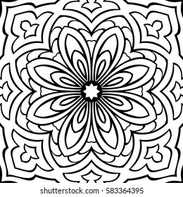 Abstract Simple Mandala Pattern Vector Black And White Background Template For Textile Carpet