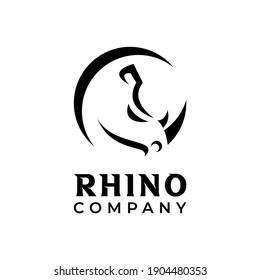 Abstract Simple Minimalist Rhino Head Logo Design Vector Template