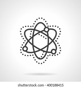 Abstract simple model of particle move and interaction. Physics sign. Science and education theme. Vector line style icon