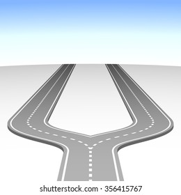 Abstract simple road fork vector background.