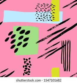 Abstract simple spots and lines, shapes and brush stroke vector pattern. Blue, green, pink, black background.