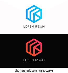 Abstract simple vector cube logo sign company icon symbol