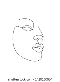 Abstract simple woman face. Continuous line drawing.