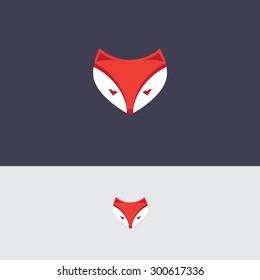 abstract simplified fox head logo icon