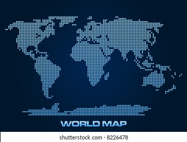 Abstract and simplified world map formed by squares.