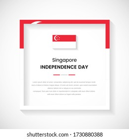 Abstract Singapore flag square frame stock illustration. Classic country frame with text for Independence day of Singapore