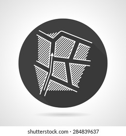 Abstract single black round flat design vector icon with white contour route map with direction arrow on gray background.