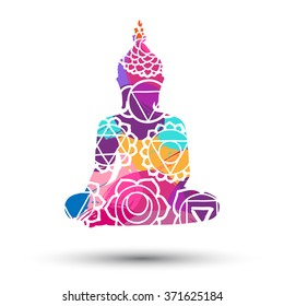 Abstract sitting Buddha silhouette. Vector illustration