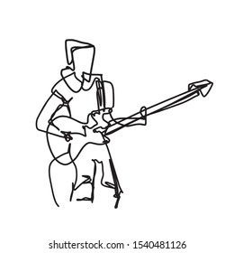 Abstract Sketch, Hand Drawing of Guitar Player