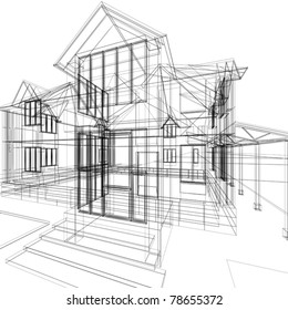Abstract sketch of house. 3d vector architecture illustration.