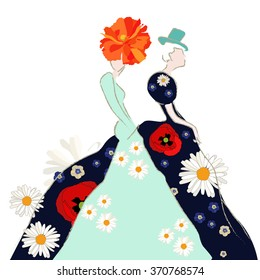 Abstract sketch  model (girl), black green  dress, daisies and poppies , hats  cylinder,  women shopping,  show,  trendy stylish texture spring summer, Fashion Week, color floral vector prints