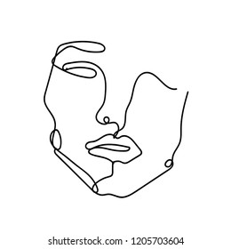 Abstract sketch, single line, minimalism. Portrait. Style, vintage. Graphics.