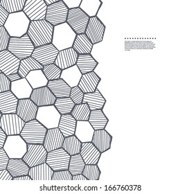 Abstract sketched honeycomb