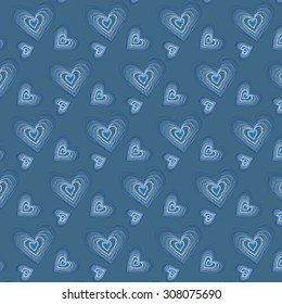 Abstract Sketchy Doodle Hearts Pattern
