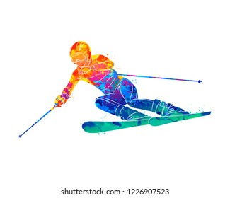 Abstract skiing. Descent giant slalom skier from splash of watercolors. Winter sports. Vector illustration of paints