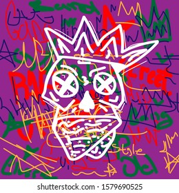 Abstract skull with crown on the background inscriptions hand drawn. Doodle, sketch, scribble. Style vector illustration.