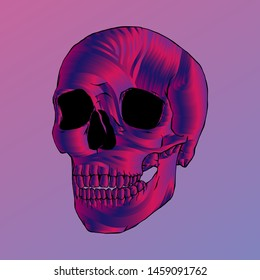 Abstract Skull Illustration, Isolated Vector