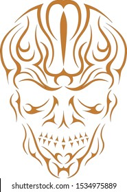 Abstract Skull Illustration, Pinstripes, Vectors, Graphic, Ornament, Decal