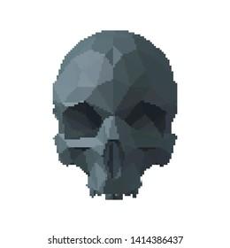 Abstract skull. Isolated on white background. Vector illustration. Pixel art.