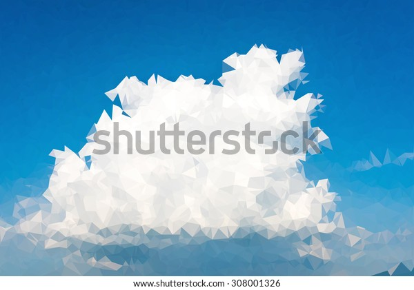 Abstract sky clouds triangular low poly style vector background,Vector illustration