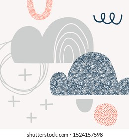 Abstract sky flat vector illustration. Clouds doodles simple composition. Cartoon scribble, zigzag, cross and dots geometric shapes backgrounds. Night sky childish drawings pack
