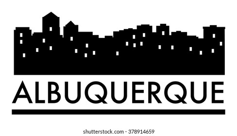 Abstract skyline Albuquerque with various landmarks, vector illustration