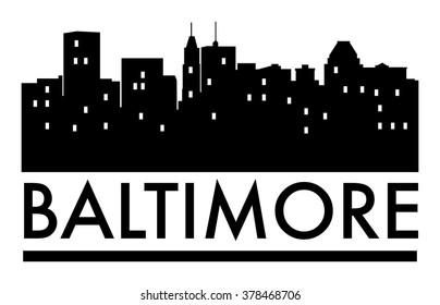Abstract skyline Baltimore, with various landmarks, vector illustration
