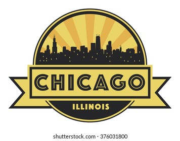 Abstract skyline Chicago, with various landmarks, vector illustration