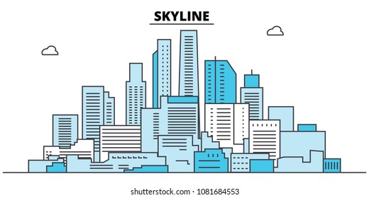 Abstract skyline. City skyline, architecture, buildings, streets, silhouette, landscape, panorama, landmarks. Editable strokes. Flat design line vector illustration concept. Isolated icons