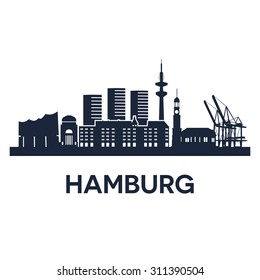 Abstract skyline of city Hamburg, vector illustration of  various landmarks in Hamburg, Germany