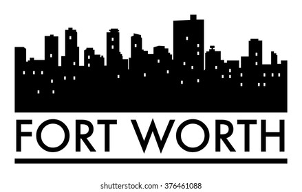 Abstract skyline Fort Worth, with various landmarks, vector illustration