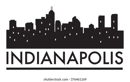 Abstract skyline Indianapolis, with various landmarks, vector illustration