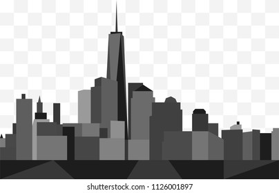 Abstract skyline of Manhattan, New York City. In shades of gray on a transparent background.