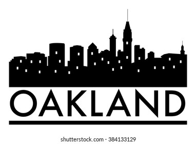 Abstract skyline Oakland, with various landmarks, vector illustration