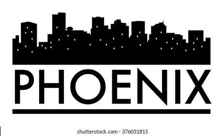 Abstract skyline Phoenix, with various landmarks, vector illustration