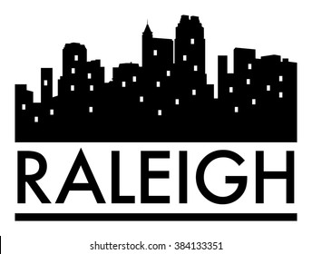 Abstract skyline Raleigh, with various landmarks, vector illustration