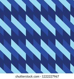 Abstract slanted geometric pattern in three shades of blue. Repeating seamless vector pattern with a futuristic style. Good for business uses, product packaging, textiles and graphic design projects.