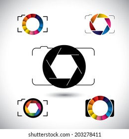 abstract slr camera concept vector icons. This graphic illustration represents camera with big lens, aperture with blades, camera shutter