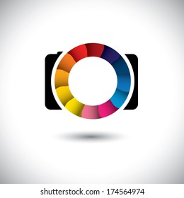 abstract SLR digital camera with colorful shutter vector icon. This graphic is a simple vector representation of stylish lens or aperture of a digital camera for taking photos & videos