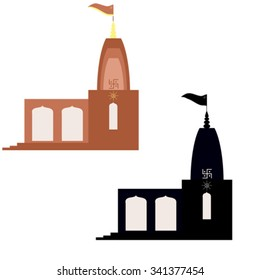 Abstract small mandir, Hindu temple in North-indian style. Black silhouette and colored vector image