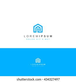 ABSTRACT SMART HOUSE LOGO BLUE