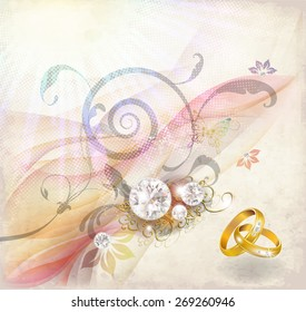 Abstract smoke background with wedding rings