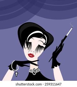 abstract smoking lady