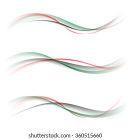 Abstract smooth color wave vector set on white background. Curve flow red green black smoke pattern motion illustration.